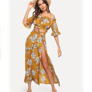 99ec145a298442 Dresses   Skirts - Knot Front Floral Bardot Top   Split Skirt Combo